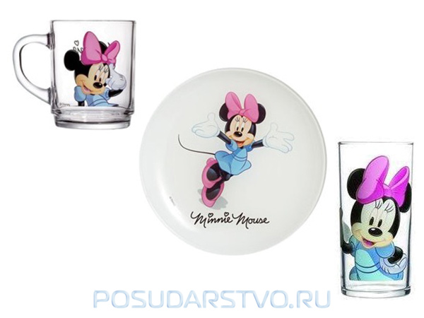 Детский набор Luminarc Disney Mickey Mouse MINNIE COLOURS H5321