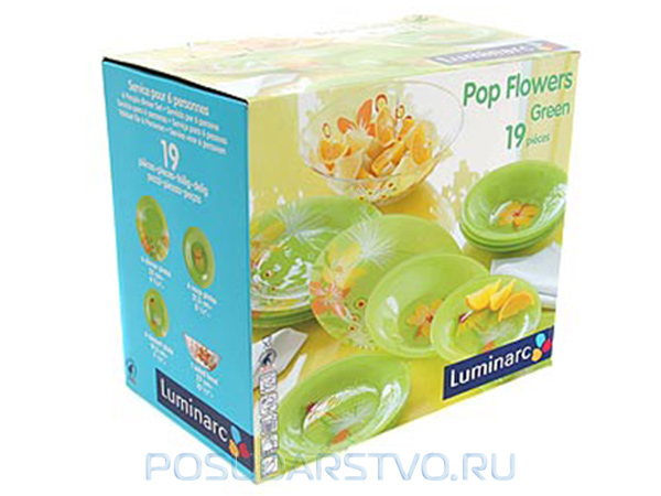 Столовый сервиз Luminarc POP FLOWERS GREEN C6609